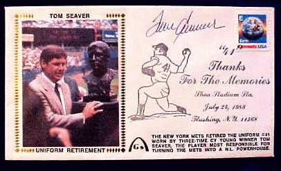 Tom Seaver - 1988 AUTOGRAPHED Gateway Cachet 'UNIFORM RETIREMENT' Baseball cards value
