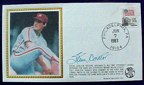 Steve Carlton - 1983 AUTOGRAPHED Renata Galasso Cachet Baseball cards value