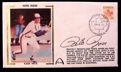 Pete Rose - 1984 AUTOGRAPHED Gateway Cachet '4,000 HITS' Baseball cards value