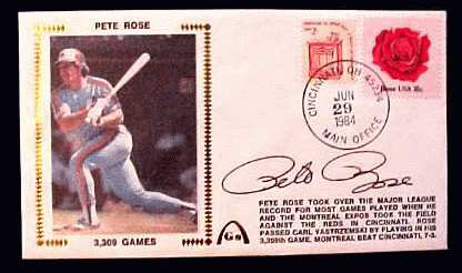 Pete Rose - 1984 AUTOGRAPHED Gateway Cachet '3,309 GAMES' Baseball cards value