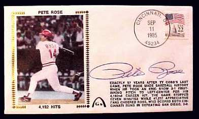 Pete Rose - 1985 AUTOGRAPHED Gateway Cachet '4,192 HITS' Baseball cards value