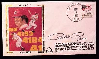 Pete Rose - 1985 AUTOGRAPHED Gateway Cachet '4,193 HITS' Baseball cards value