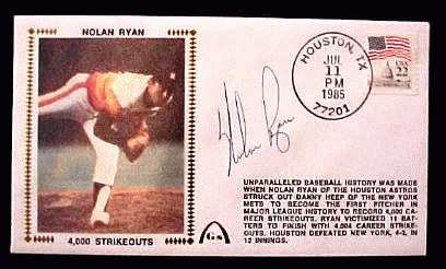 Nolan Ryan - 1985 AUTOGRAPHED Gateway Cachet '4,000 STRIKEOUTS' Baseball cards value