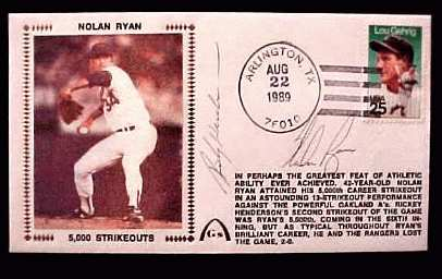 Nolan Ryan - 1989 AUTOGRAPHED Gateway Cachet '5,000 STRIKEOUTS' Baseball cards value