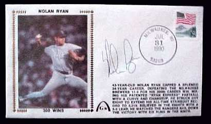 Nolan Ryan - 1990 AUTOGRAPHED Gateway Cachet '300 WINS' Baseball cards value