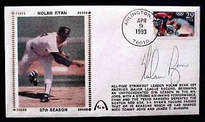 Nolan Ryan - 1993 AUTOGRAPHED Gateway Cachet '27th SEASON' Baseball cards value