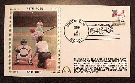 Pete Rose - 1985 AUTOGRAPHED Gateway Cachet '4,191 HITS' Windy City Postmr Baseball cards value