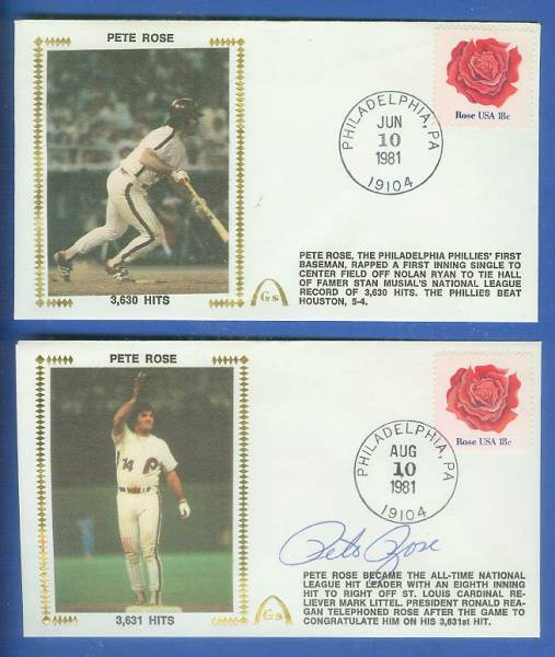 Pete Rose - 1981 AUTOGRAPHED Gateway Cachets COMBO '3,630 & 3,631 HITS' Baseball cards value