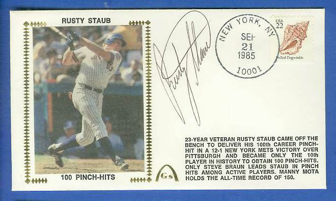 Rusty Staub - 1985 AUTOGRAPHED Gateway Cachet '100 PINCH-HITS' (Mets) Baseball cards value