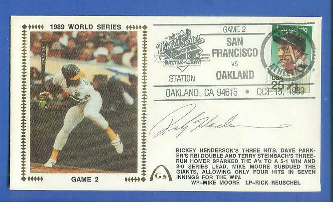 Rickey Henderson - 1989 AUTOGRAPHED Gateway Cachet 1989 World Series Game Baseball cards value