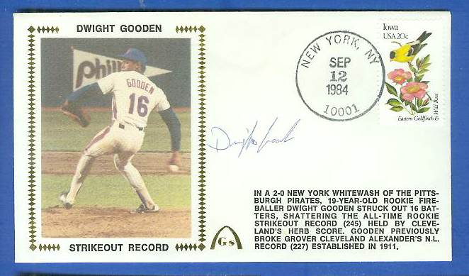 Dwight Gooden - 1984 AUTOGRAPHED Gateway Cachet 'ROOKIE STRIKEOUT RECORD' Baseball cards value