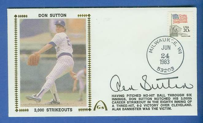 Don Sutton - 1983 AUTOGRAPHED Gateway Cachet '3,000 Strikeouts' Baseball cards value