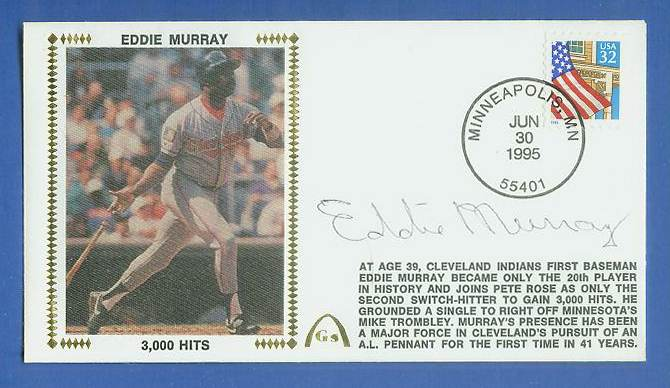 Eddie Murray - 1995 AUTOGRAPHED Gateway Cachet '3,000 HITS' Baseball cards value