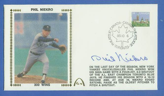 Phil Niekro - 1985 AUTOGRAPHED Gateway Cachet '300 WINS' Baseball cards value