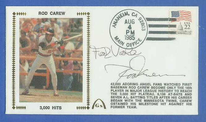 Rod Carew - 1985 AUTOGRAPHED Gateway Cachet '3,000 HITS' DOUBLE SIGNED !!! Baseball cards value