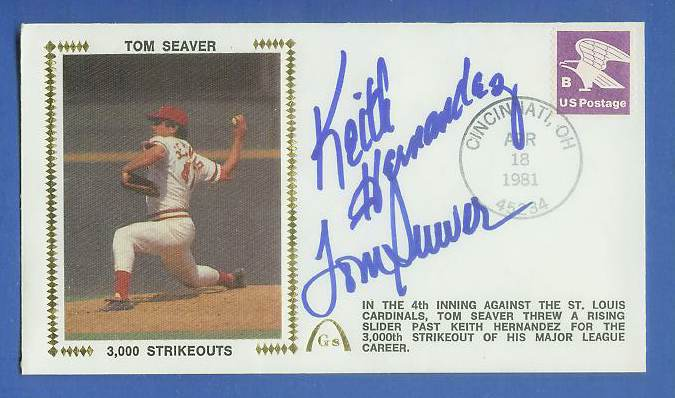 Tom Seaver - 1981 DUAL AUTOGRAPHED Gateway Cachet '3000 STRIKEOUTS' Baseball cards value