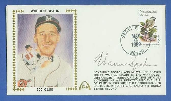 Warren Spahn - 1982 AUTOGRAPHED Gateway Cachet '300 CLUB' Baseball cards value