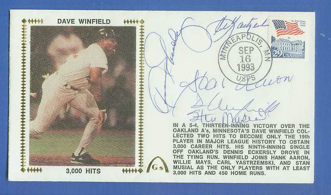 MULTI-SIGNED Dave Winfield - 1993 AUTOGRAPHED Gateway Cachet '3,000 HITS' Baseball cards value