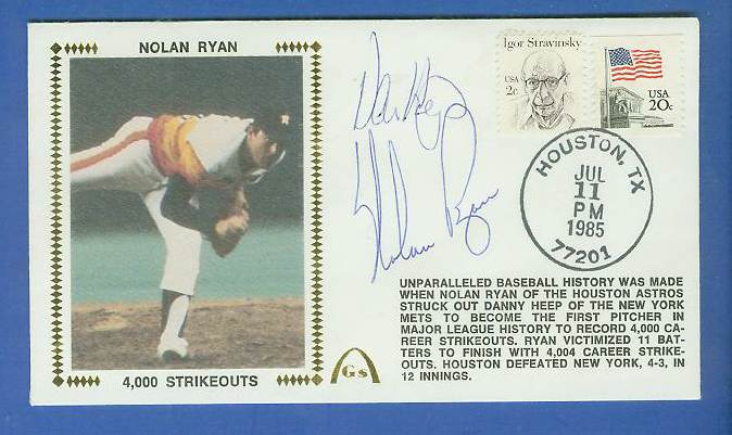 Nolan Ryan - 1985 DUAL AUTOGRAPHED Gateway Cachet '4,000 STRIKEOUTS' Baseball cards value