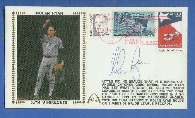 Nolan Ryan - 1983 AUTOGRAPHED Gateway Cachet '5,714 STRIKEOUTS' Baseball cards value