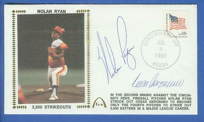 Nolan Ryan - 1980 DUAL AUTOGRAPHED Gateway Cachet '3,000 STRIKEOUTS' Baseball cards value