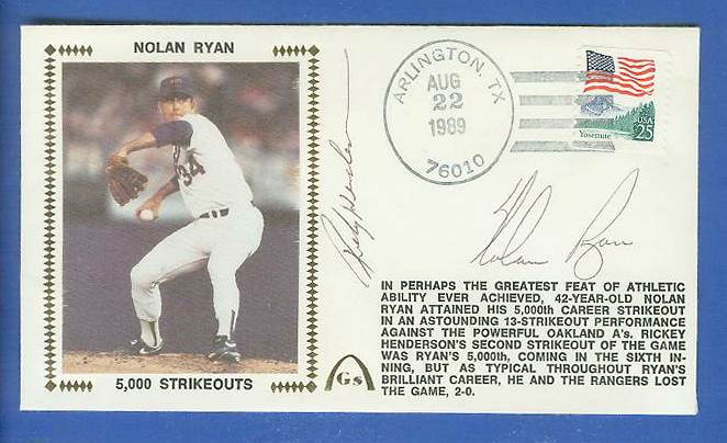 Nolan Ryan/Rickey Henderson - 1989 DUAL AUTOGRAPHED Gateway Cachet 5K SO Baseball cards value
