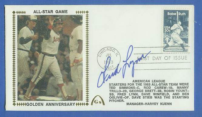 Fred Lynn - 1983 AUTOGRAPHED Gateway Cachet 'ALL-STAR GAME GOLDEN ANNIV.' Baseball cards value