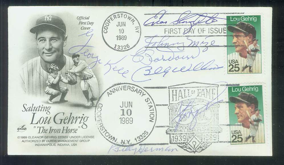 MULTI-SIGNED Cachet - Autographed by (7) HALL-of-FAMERS w/PSA Auction LOA! Baseball cards value