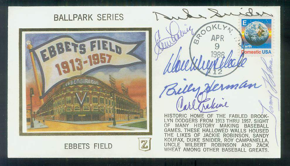MULTI-SIGNED Ebbets Field Cachet - (6) AUTOGRAPHS with HALL-of-FAMERS !!! Baseball cards value