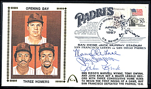 Tony Gwynn - 1987 AUTOGRAPHED Gateway Cachet PADRES OPENING DAY - 3 HOMERS Baseball cards value