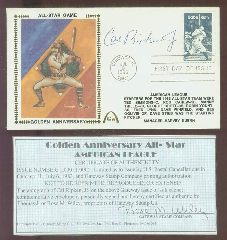 Cal Ripken - 1983 AUTOGRAPHED Gateway Cachet 'All-Star Game Golden Anniv.' Baseball cards value