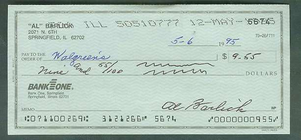 Al Barlick - Autographed official Bank Check Baseball cards value