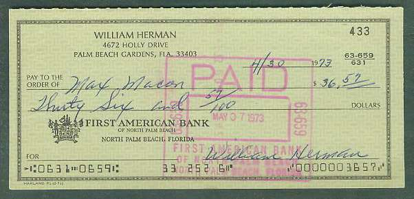 Billy Herman - Autographed Bank Check (from the 1970's) Baseball cards value
