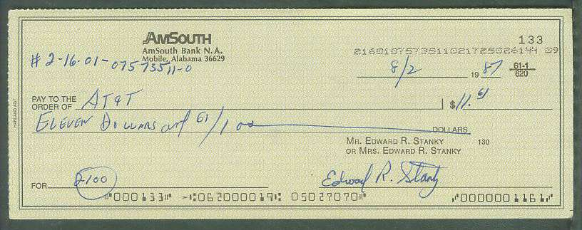 Eddie Stanky - Autographed official Bank Check Baseball cards value