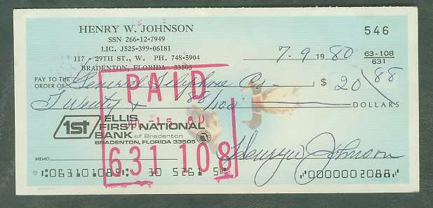 Henry Johnson - Autographed official Bank Check Baseball cards value
