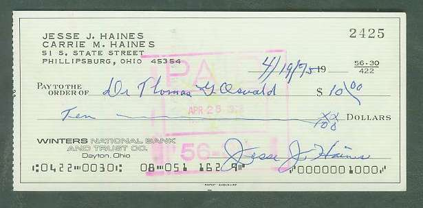 Jessie Haines - Autographed official Bank Check (St. Louis Cardinals) Baseball cards value