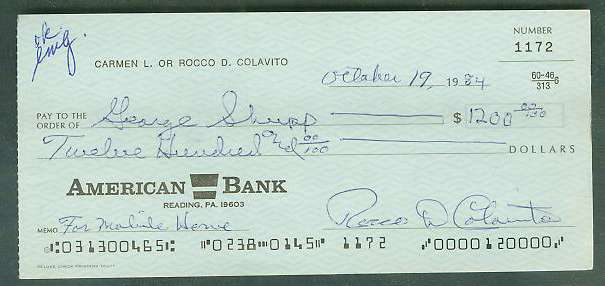 Rocky Colavito - Autographed official Bank Check Baseball cards value