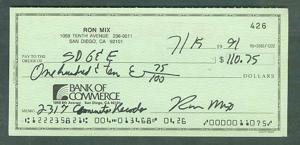 Ron Mix - Autographed official Bank Check Football cards value