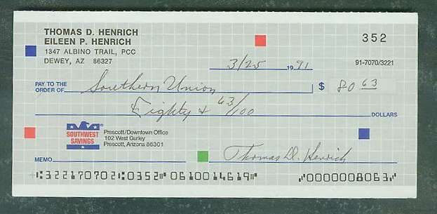 Tommy Henrich - Autographed official Bank Check (Yankees) Baseball cards value