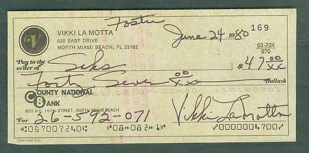 Vikki La Motta - Autographed official Bank Check Baseball cards value