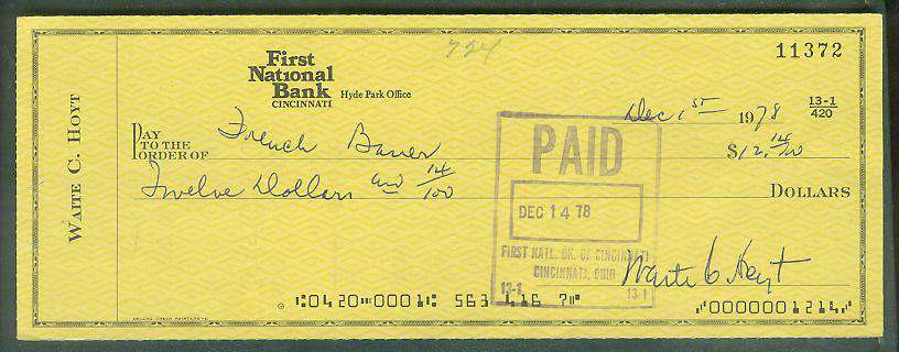 Waite Hoyt - Autographed official Bank Check Baseball cards value