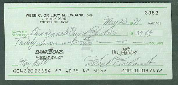 Weeb Ewbank - Autographed official Bank Check Football cards value