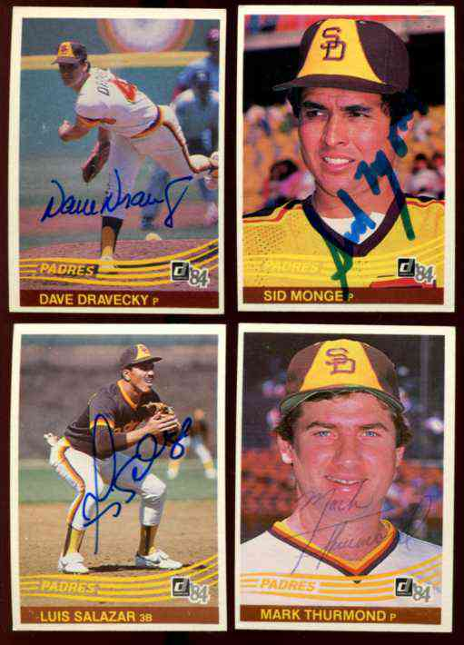 PADRES - Lot (4) Autographed 1984 Donruss cards w/Dave Dravecky w/LOA Baseball cards value