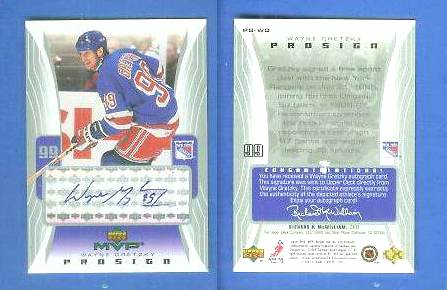Wayne Gretzky - 2003-04 UD MVP #PS-WG 'PROSIGN' AUTOGRAPH (Rangers) Hockey cards value