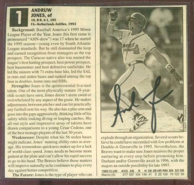 Andruw Jones - Autographed B&W 1995/96 Magazine Article [#a] (5x5) Baseball cards value