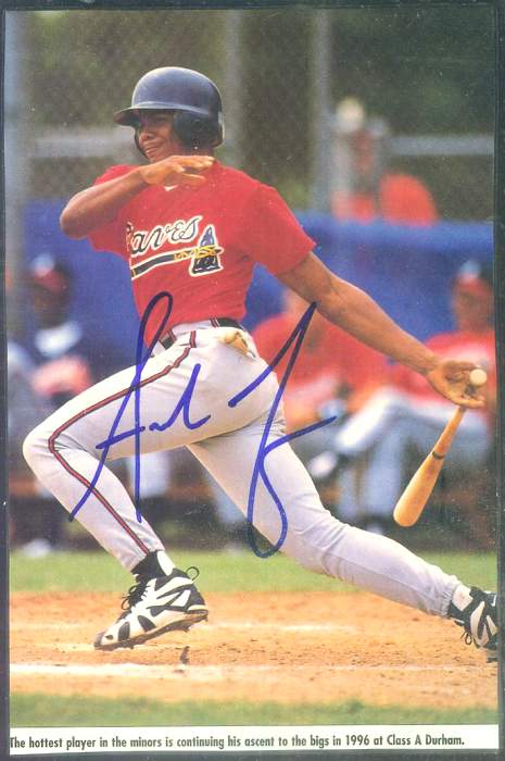 Andruw Jones - Autographed BLUE  sig. Magazine Photo [#g] (4-1/2x7) Baseball cards value