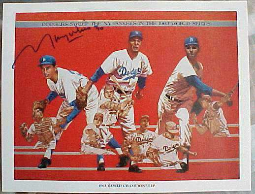 Maury Wills Autographed - 1984 Union Oil Dodgers 1963 World Championship Baseball cards value