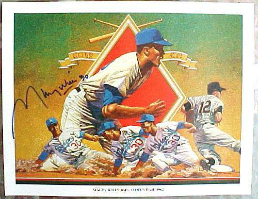Maury Wills Autographed - 1984 Union Oil Dodgers EX/MT '104th Stolen Base' Baseball cards value