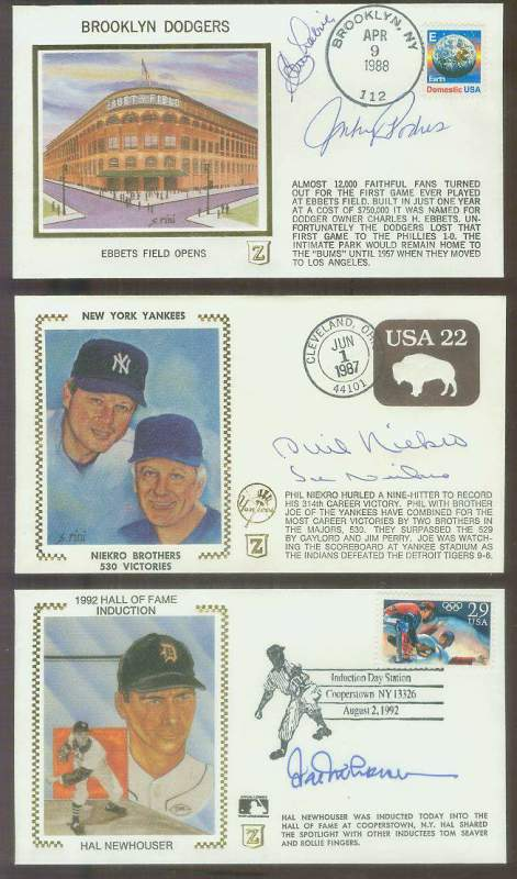Johnny Podres/Clem Labine - l988 DUAL-AUTOGRAPHED Z-Cachet 'Ebbets Field' Baseball cards value