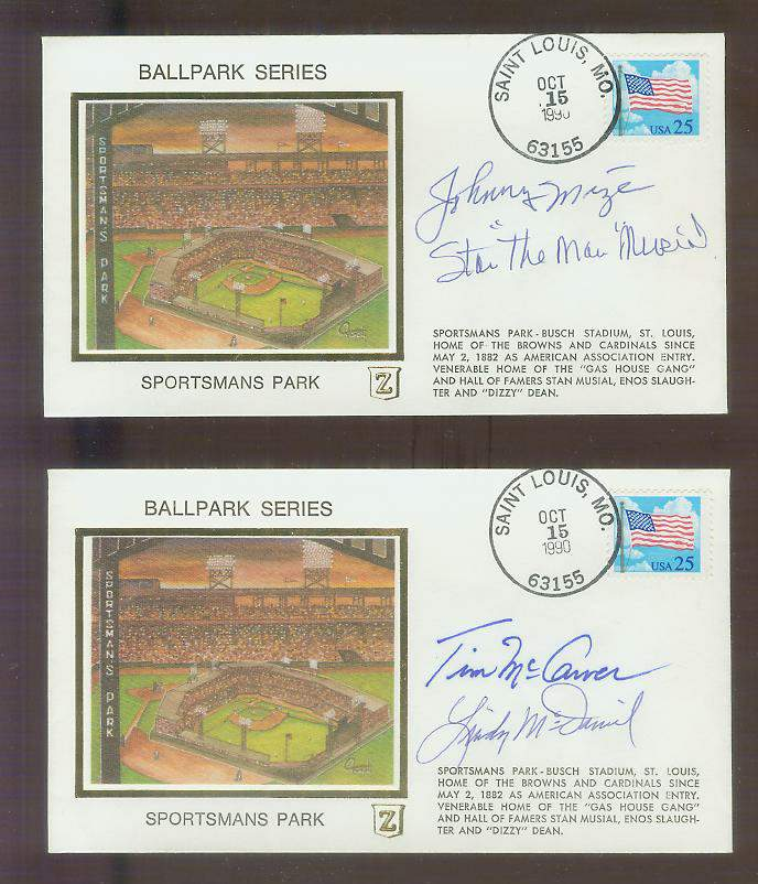 Stan Musial/Johnny Mize - 1990 DUAL-AUTOGRAPHED Sportsmans Park Z-Cachet Baseball cards value